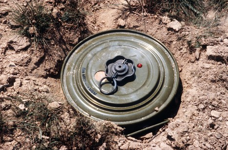 A Soviet TM-46 anti-personnel mine.