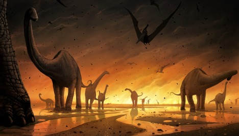 Extinction of the dinosaurs. Computer artwork of a group of dinosaurs and flying reptiles fleeing a vast fire. This may have been caused by a volcanic eruption or meteorite impact. Such events have occurred before in Earth's history, and will do so again. Both events can trigger a lowering of global temperatures as clouds of dust and ash reduce the amount of sunlight reaching the surface. Plant and then animal life dies off. The mass loss of life that included the extinction of the dinosaurs took place some 65 million years ago at the end of the Cretaceous period. The flying reptiles here are Pteranodons, and the quadraped dinosaur are sauropods called Titanosaurs.