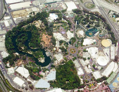 An aerial view of Disneyland in 2005