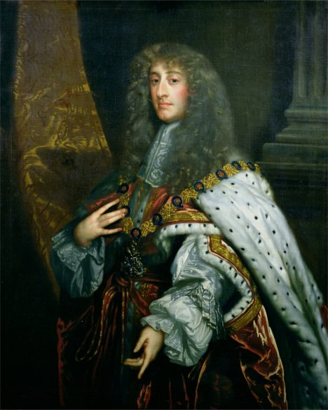BOL93904 Portrait of James II (1633-1701) in Garter Robes (oil on canvas) by Lely, Peter (1618-80) (school of); 121.5x99.5 cm; © Bolton Museum and Art Gallery, Lancashire, UK; English, out of copyright
