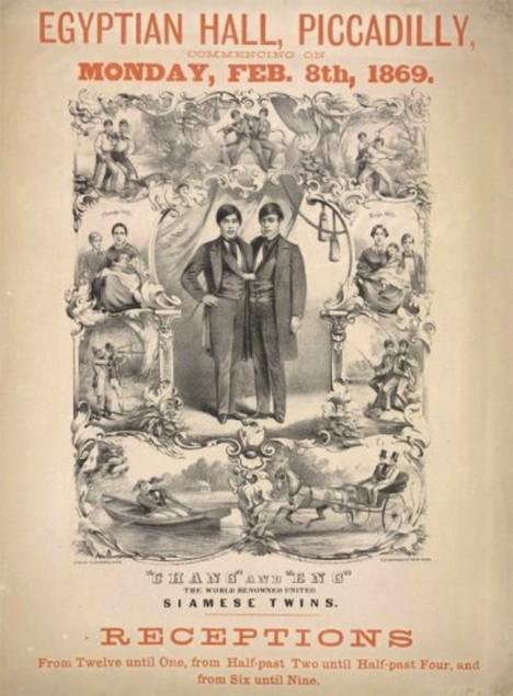 Plakát zvoucí na vystoupení siamských dvojčat.