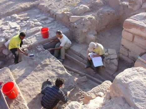 Excavating and documenting the irrigation channels on the garden terrace in ancient Petra, Jordan. The site dates to about 2,000 years ago.Ann-Leigh Bedal read more: http://www.haaretz.com/jewish/archaeology/1.744119