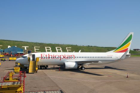 Flight from Entebbe to Addis Abeba on August 27, 2009