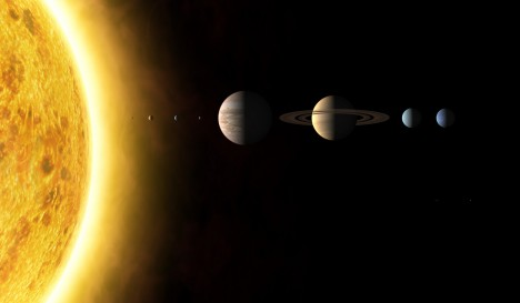 This image shows an artist's impression of the Solar System