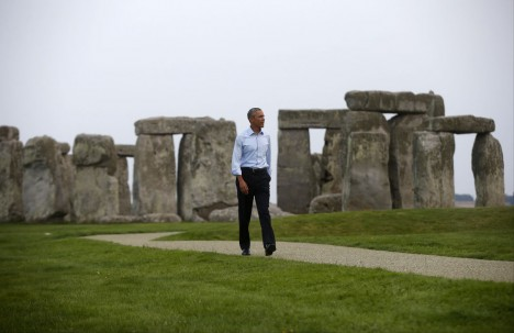 President Barack Obama visits Stonehenge after leaving the NATO summit in Newport, Wales, Friday, Sept. 5, 2014. (AP Photo/Charles Dharapak)
