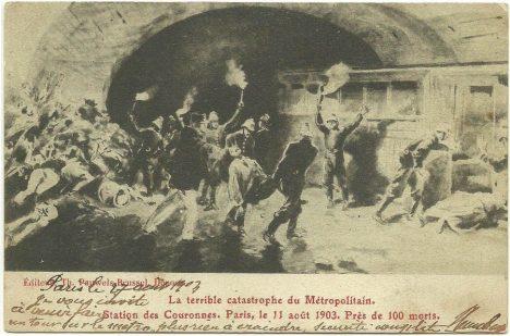 Paris - La terrible catastrophe du Métropolitain - Station des Couronnes. Paris, le 11 aout 1903