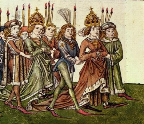 Barbora Celjská (vpravo) se svojí dcerou Alžbětou. Obě jsou vyhlášené krasavice.