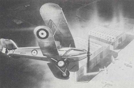Goddardův letoun nad základnou Drem.