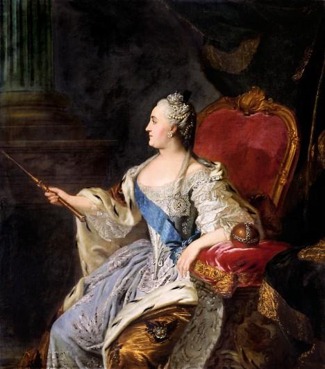 Carevna Kateřina II. Veliká nechává v roce 1769 vydat první ruské papírové bankovky.