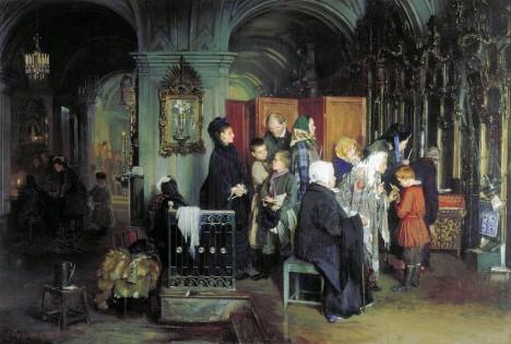 Chození do kostela je pro děti a studenty povinné. Mladému Masarykovi ale po chuti není.