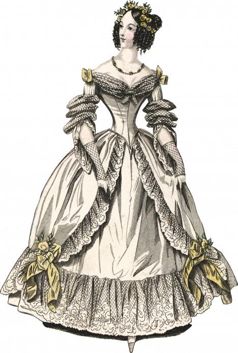 Takto se například nosí korzety pod večerní šaty v první polovině 19. století.
