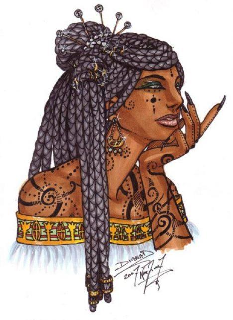 Egyptská královna Kleopatra se pyšní dlouhými nehty. Většinou dává přednost barvivu z jahod.