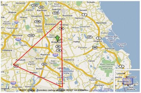 Hlavními trojúhelníkovými body paranormálního místa jsou města Abington, Rehoboth a Freetown.