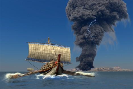 Ostrov Théra, Středozemní moře Kdy?: 1470 př. Kr. Počet obětí: neznámý Ohromná exploze vulkánu na řeckém ostrově Théra, dnes známém jako Santorini, je jednou znejstarších doložených katastrof spojovaných s tsunami. Výbuch před 3,5 tisíci lety zcela zničil antickou kulturu ostrova. Vlna tsunami dosahovala podle odhadů výšky až 100 metrů. Měla dost energie na to, aby zničila obydlí na pobřeží po celém Středomoří.