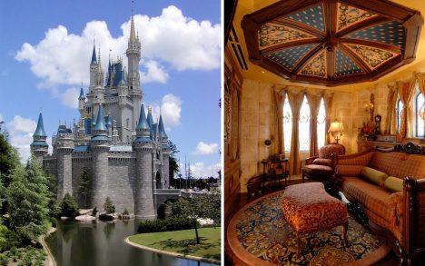 Popelčin hrad byl vroce1971 postaven jako součást zábavního parku Walt Disney World na Floridě. Málokdo ví, že uvnitř hradu byl vytvořen luxusní apartmán. Má jen 60metrů čtverečních sdvěma manželskými postelemi aobývákem. Nicméně interiér je prostě pohádkový. Původně měl apartmán patřit přímo rodině Walta Disneyho, ten ale zemřel pět let před dokončením parku.