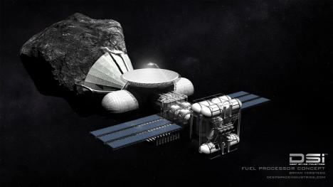 Na asteroidech se také nacházejí ložiska vody, například ve formě ledu. Tu mají čerpat speciální stanice, které z ní budou přímo na místě vyrábět vodíkové palivo pro rakety.