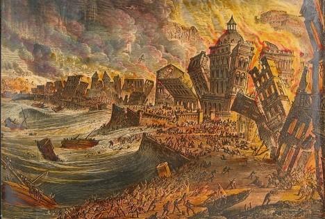 Nejdříve se přímo uprostřed portugalského města objevily hrozivé praskliny, chvíli poté pak lidé v přístavu sledovali, jak ze zátoky mizí mořská voda a odhaluje dno. Série ohromných vln, vyvolaná zemětřesením stupně číslo 9, pak totálně zpustošila město a jeho okolí. Dvacetimetrová vlna zasáhla i pobřeží severní Afriky a třímetrové vlny dorazily až do Anglie.