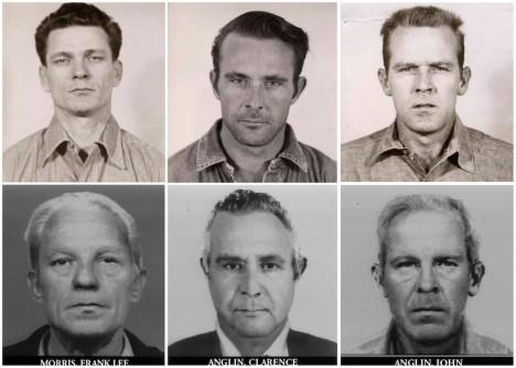 Frank Lee Morris, Clarence Anglin a John Anglin uprchli v roce1962. Policie vytvořila i podobizny, jak by mohli vypadat po více než 17 letech na útěku.