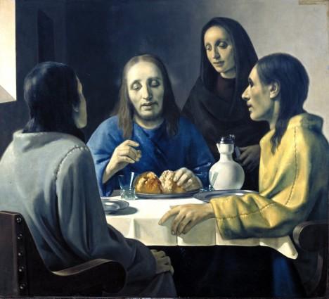 Holandský malíř Han van Meegeren dokázal mistrně napodobit styl věhlasného mistra Vermeera a využil také toho, že se od něj dochovalo jen málo děl. Bylo tedy pravděpodobné, že se nějaké ještě mohou objevit. Takto vzniklo i plátno Kristus a jeho učedníci v Emauzích. Aby obraz vypadal autenticky, byla olejomalba vytvrzena v peci na pizzu. Až v roce 1945 Meegerena přiznal falšování děl v celkové hodnotě 30 milionů dolarů.