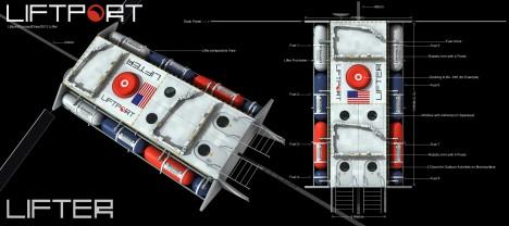 Návrh kabiny měsíčního výtahu tak, jak si jej představují konstruktéři ze společnosti LiftPort.