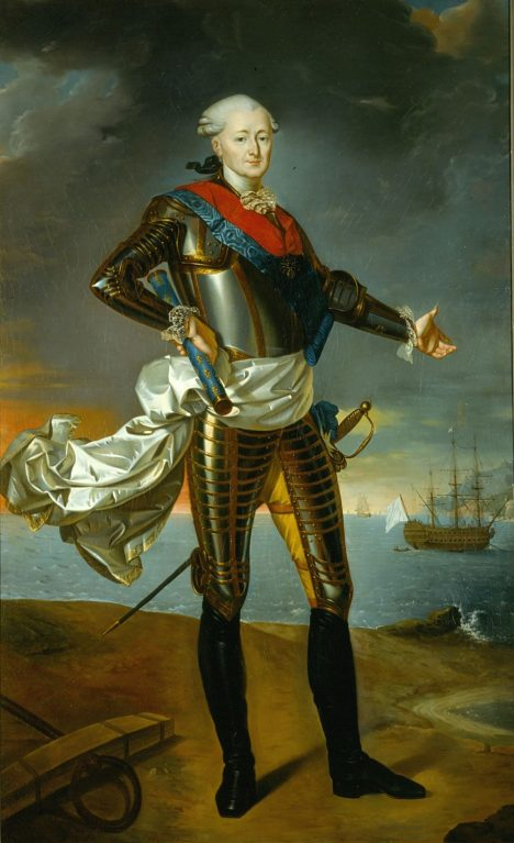 Francouzský admirál Louis Guillouet d'Orvilliers musí na španělské posily dlouho čekat.
