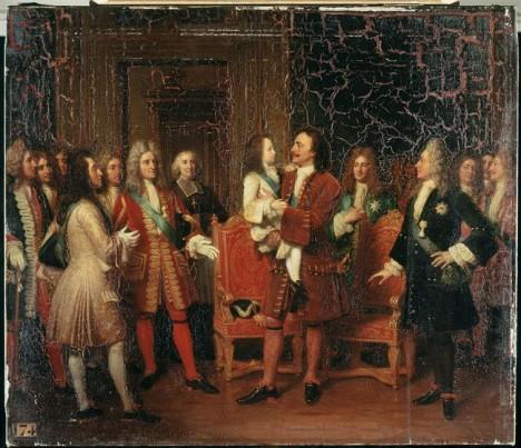 Francouzský král Ludvík XV. (vlevo) je pro Petra I. Velikého (uprostřed) ivelkou inspirací v módě.
