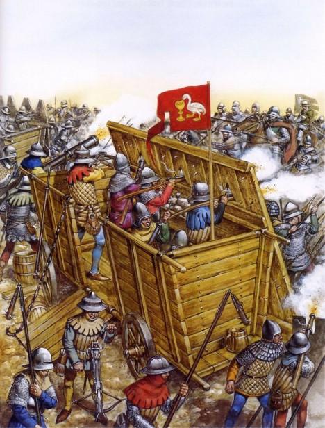 Husitská vozová hradba se stává téměř nedobytnou pevností.