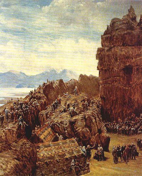 Islanďané se trousí ke Skále zákonů. Chystá se důležité zasedání.