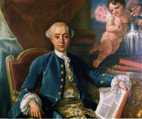 Kavárnu pravidelně navštěvuje známý milovník žen Giacomo Casanova.