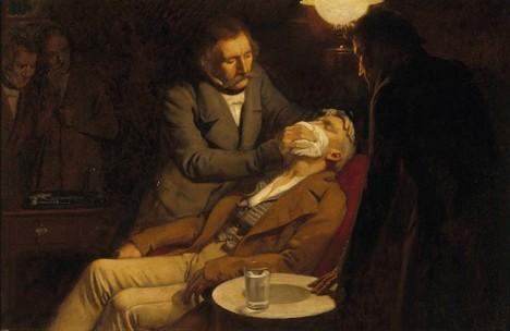 Krutá muka při trhání zubů zmírní teprve použití éteru.