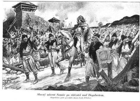 Kupec Sámo se vrací  domů po velkém vítězství nad franským králem Dagobertem.
