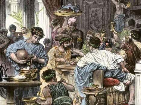 Na římských hostinách víno nikdy nechybí.  Někdy ho ale hostitelé ředí vodou.