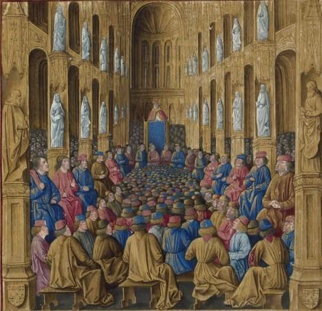 Na koncilu v Clermontu v roce 1095 slibuje papež Urban II. odpuštění hříchů.