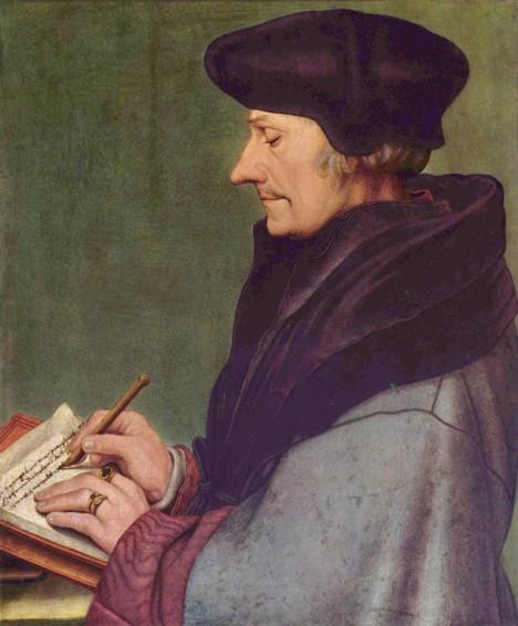 Nizozemský myslitel Erasmus Rotterdamský má obrovskou autoritu. Učí děti vládců.