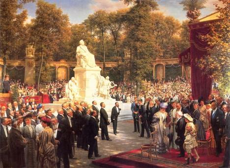 Odhalení památníku Richarda Wagnera v Berlíně. Pro Němce je hudebník národním symbolem, oblíbí si ho i Adolf Hitler.