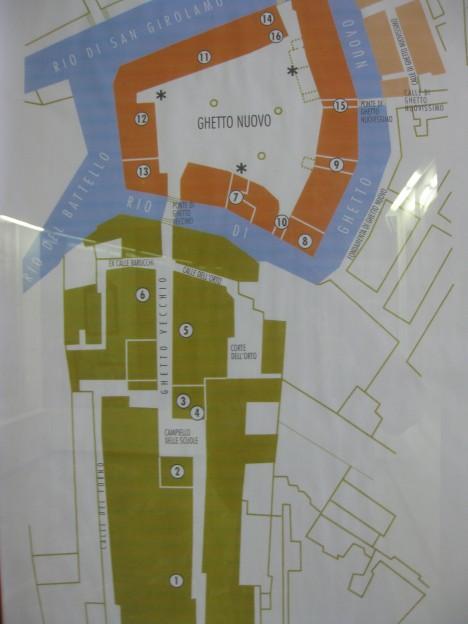 Plánek benátského ghetta, jádro čtvrti tvoří nejstarší část Ghetto Nuovo.