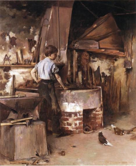 Práce u kovářské výhně má pro chlapce svůj půvab. Vyžaduje šikovnost i sílu a přemýšlení.