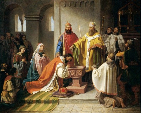 Prvním pokřtěným českým knížetem se stává Bořivoj. Svátost křtu přijme na Svatoplukově dvoře.
