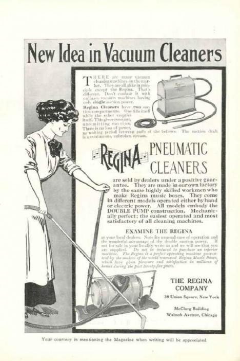 Reklamy na vysávací stroje se hojně objevují už kolem roku 1910, jenom pár let po uvedení vynálezu na trh.
