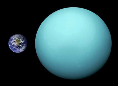 Srovnání velikosti Uranu na Země
