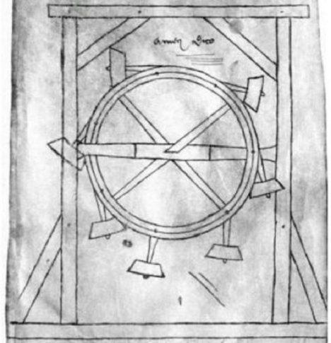 Ve vynálezcově náčrtníku nechybí ani perpetuum mobile, stroj, který k práci nepotřebuje zdroj energie.