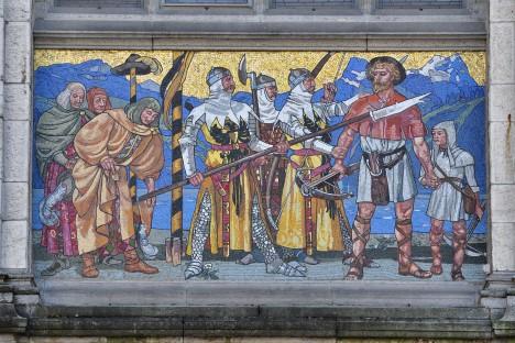 Vilém Tell má být vůdcem švýcarského povstání proti Habsburkům, důkazy o jeho existenci však nemáme