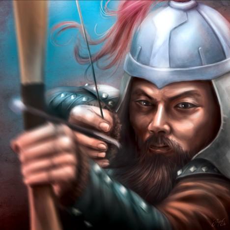 Vojevůdce Čingischán statečně bojuje a má výdrž. Svá válečná vítězství si umí pořádně užít.
