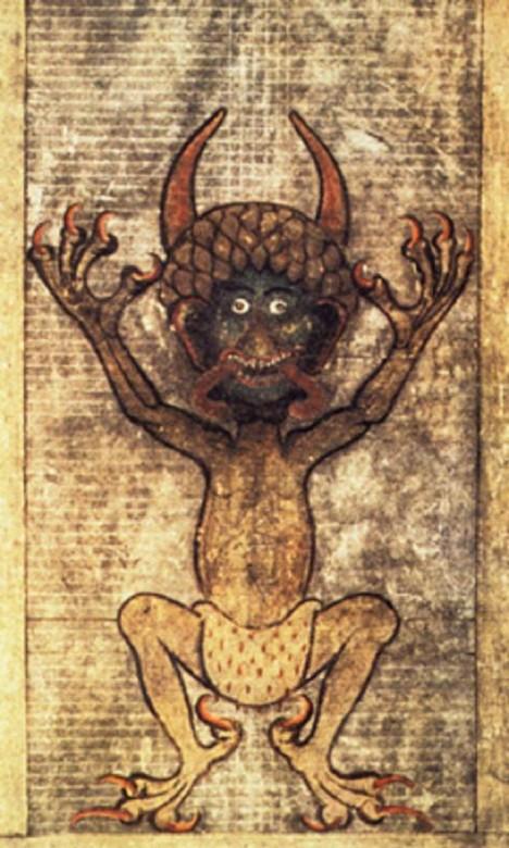 Vyobrazení ďábla z Codexu Gigas, největšího rukopisného kodexu na světe. V minulosti považovali lidé vidličku za jeho nástroj.