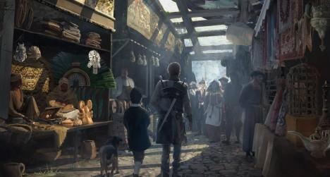 Zákazníci si prohlížejí zboží na tržnici. Zaplatit mohou i plátnem.