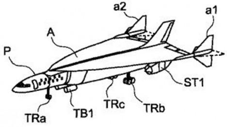 Ilustrace z nového patentu nadzvukového letadla Airbus ukazuje hrubou podobu nového stroje.