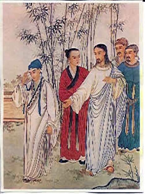 Ježíš Kristus jako poutník s apoštoly. Za pohostinnost se dokáže podle pověsti odvděčit.