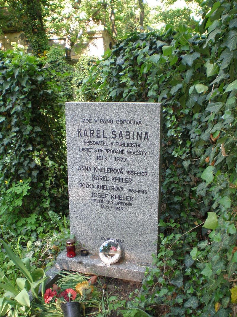 Hrob Karla Sabiny na Olšanských hřbitovech v Praze.