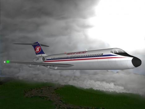 Počítačový model havarovaného letadla.