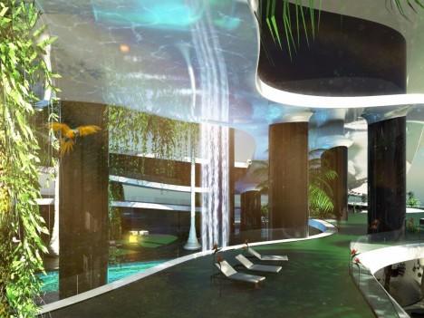 Interiér nabízí třeba masážní a kosmetické salóny či posilovny včetně několika bazénů, ostrov se totiž nachází 80 metrů nad hladinou moře.